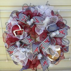 Items similar to Alabama Crimson Tide Spirit Wreath on Etsy Alabama Football Wreath, Alabama Wreaths, Wreath Ideas, Diy Wreath, Door Wreaths, Alabama Crimson Tide, Deco Mesh, 4th Of July Wreath, Arts And Crafts
