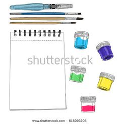 Vector illustration of artist creative set acrylic sketchbook and brushes