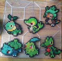 Grass Starter Pokemon Perler beads by Khoriana on deviantART