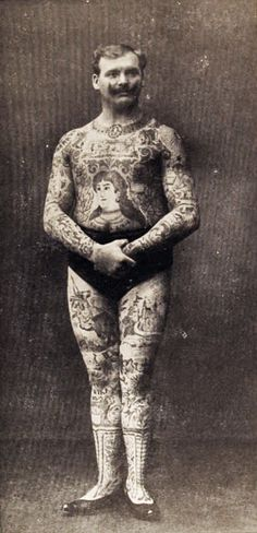 Don Manuelo, the tattooed man, German photo dated 1908