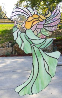 stained glass fairies patterns - Google Search Stained Glass Angel, Stained Glass Projects, Stained Glass Patterns, Stained Glass Windows, Angel Theme, Angel Drawing, Glass Birds, Glass Design, Mosaic Glass