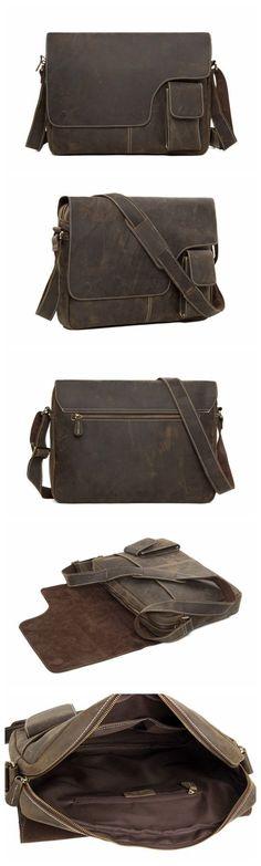 13'' Vintage Genuine Leather Messenger Bag Crossbody Bag Shoulder Bag