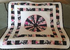 A Very Modern Dresden 44 X 44 Quilt In Pink by WrappingYouInWarmth, $106.00