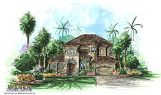 Narrow Lot House Plan: 2 Story Mediterranean Coastal Home Plan