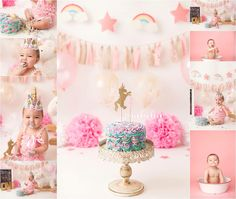 Unicorn Cake Smash Session, Pink Girl Cake Smash Session