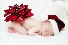 Newborn Christmas announcements... I would do the bow only, skip the hat.