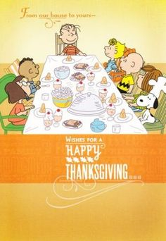 "Amazon.com: Charlie Brown and Friends Peanuts Thanksgiving Card ""From Our House to Yours-wishes for a Happy Thanksgiving"": Health & Personal..."