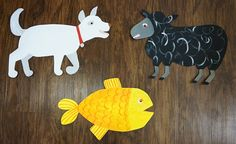A set of 9 hand painted animals perfect for your Brown Bear, Brown Bear party! We love to use these as wall decorations around the party or for props for a photo booth! -This set includes one of each: brown bear, red bird, yellow duck, blue horse, green frog, purple cat, white dog, black sheep, and orange goldfish -Each animal is approximately 1x2 Check out our: Brown Bear, Brown Bear food labels http://etsy.me/2pG2nco And our Brown Bear, Brown Bear paw print set! http:/&#...