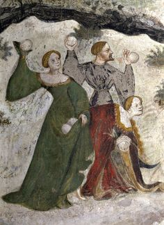 "at first glance, i thot this may have been the Holy family involved in a snowball fight? :: Medieval Snowball Fight (""January"", fresco, detail) - Maestro Venceslao (Bohemian master) Frescoes in the Torre Aquila (""Ciclo dei mesi"") Medieval Games, Medieval Life, Medieval Costume, Medieval Fashion, Medieval Art, Medieval Drawings, Renaissance Kunst, Art Français, Medieval Paintings"