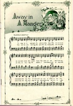 Away in a Manger vintage Christmas sheet music printable for clip art, decoupage. Christmas Sheet Music, Noel Christmas, Winter Christmas, Xmas Music, Christmas Sheets, Xmas Songs, Christmas Letters, Christmas Lyrics, Christmas Scrapbook