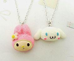 "Free Shipping 6 Strands cute sanrio cinnamoroll rabbit Resin Necklace 18"""