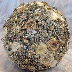 Elegant Champagne Wedding Brooch Bouquet. by NatalieKlestov