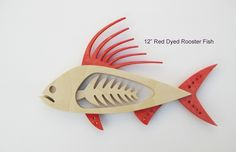 """12"""" Red Dyed Rooster Fish.. Wall Piece.. (3 layers of wood) $60.00 Pledge"""