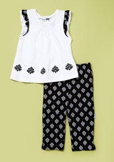 Black and White Capri Set