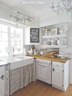 Vintage White Shabby Chic Kitchen Decor.
