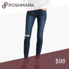 """🆕 J. Crew - 8"""" Toothpick Jean in Point Lake Wash J. Crew's skinniest style, the toothpick, is lean and cropped. This version features premium stretch fabric from North Carolina's Cone Denim® with a hem that's been let out for a cool look. Cotton/elastane. Machine wash. Sits above hip. Fitted through hip and thigh with a superskinny, ankle-length leg. Front rise: 8 3/4"""". 28"""" inseam. J. Crew Jeans Ankle & Cropped"""