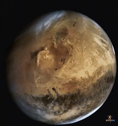 October 7, 2014: India's Mars Orbiter Mission captured this view of Mars from a distance of 66,543 kilometers. The view includes the large Elysium volcanic region on Mars, and the dark swath of Terra Cimmeria across the disk to the south. Near the center of the disk is a small crater that has a large dark streak running down from it: that is Gale, home to NASA's Curiosity rover. - Image Credit: Indian Space Research Organisation (ISRO) - via Friends of NASA