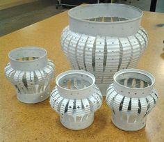 tin can lanterns . tin can lanterns Aluminum Can Crafts, Aluminum Cans, Metal Crafts, Recycled Tin Cans, Recycled Crafts, Tin Can Lanterns, Tin Can Lights, Tin Can Art, Soda Can Crafts