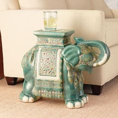 Elephant Green Garden Stool