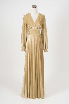 Harlow dress   Little Wing Vintage - 1970s gold lurex disco maxi dress. Very Studio 54