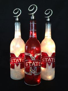 Mississippi State Bulldogs Wine Bottle of Lights by BottleOfLights, $30.00