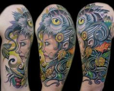 Mother Nature with Owl Head by Vince Villalvazo - Full panel on upper arm, the start of a half sleeve. Started at Mystic Owl Tattoo in Marietta, Ge