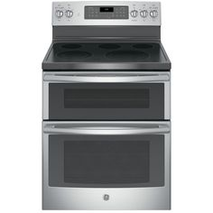 GE 30-in Smooth Surface 5-Element 4.4-cu ft/2.2-cu ft Double Oven Single-Fan Electric Range (Stainless Steel)