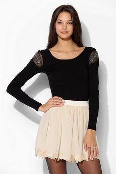Pins And Needles Bow-Hem Chiffon Skirt