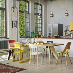For Casual Dining. Jean Prouvé for Vitra EM Table, Natural Oak Top Enamel Base. Jasper Morrison Basel and Hal Wood Chairs, Barber Osgerby TipTon Chair.