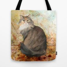 Maine coon cat Tote Bag by Michelle Behar - $22.00