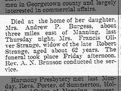 Manning Times - 6 Sept 1905 - Death of Mrs. Francis Oliver Strange