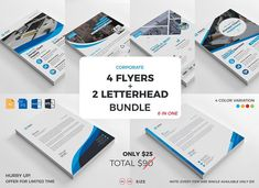 4 Flyers + 2 Letterhead Bundle 2017 by Thecodude on @creativemarket