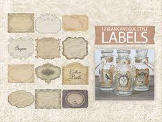 Digital Vintage Labels  Antique Printable Labels  by DIYVintageArt, $3.20