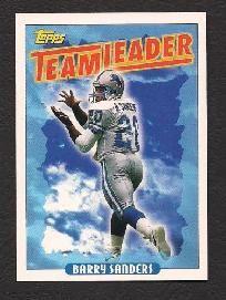1993 topps team leader barry sanders #174 football card detroit lions.
