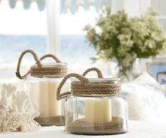 Could you DIY with old candle jars or mason jars? Would love to see some Candle Impressions flameless candles in there Deco Theme Marin, Beach Crafts, Diy Crafts, Rope Crafts, Something Borrowed Wedding, Old Candle Jars, Diy Candles, Mason Jars, Bathroom Candles