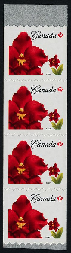 Canada 2244 Coil Strip of 4 MNH Island Red Flowers
