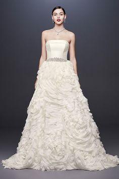 207 best oleg cassini wedding dresses images on pinterest davids chiffon rosette strapless ball gown wedding dress davids bridal junglespirit Gallery