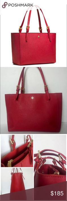 """Tory Burch York Buckle Tote AUTHENTIC TORY BURCH RED LUGGAGE YORK SMALL BUCKLE TOTE  Good preloved condition, very clean,  signs of use include small tear along the strap, please see the pictures.   Goldtone logo hardware perfectly complements the scratch-resistant Saffiano leather of a chic tote topped with slender, belted handles. Interior zip, wall and cell-phone pockets; key clip. 12x5x9 with an 8.5"""" handle drop. Tonal logo-jacquard lining. Glazed Saffiano leather. Tory Burch Bags Totes"""