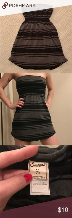 Adorable EMPYRE strapless summer dress Grey and black stripes EMPYRE dress, size small. Only worn a few times! Empyre Dresses Strapless