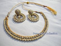 Designer Bollywood Gold Plated Pearl Jewelry Indian Kundan Bridal Necklace Set