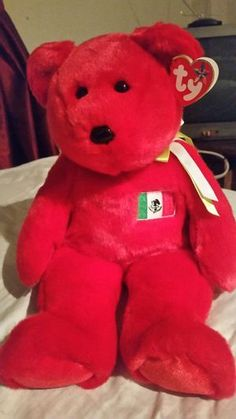 Rare Large ty Colectors Bear . With Mexican flag!