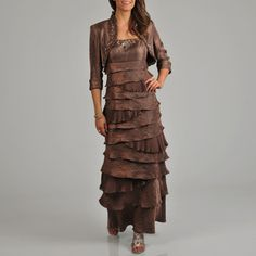 Ignite Evenings Women's Tiered Beaded 2-piece Long Dress Bolero Jacket Set   Overstock.com