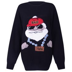 MENS 12 14 MEDIUM GANGSTER FATHER CHRISTMAS XMAS JUMPER SWEATER KNITTED UNISEX