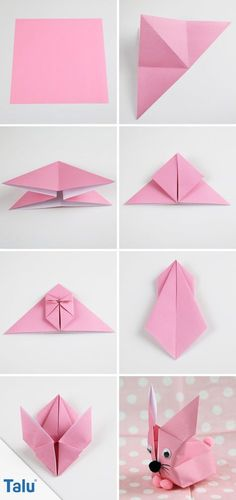 Origami Bunny folding - Folding guide for a paper bunny, Instructions - Origami Rabbit - talu. Origami Ball, Instruções Origami, Origami Paper Folding, Origami Artist, Origami Star Box, Origami Dragon, Origami Butterfly, Modular Origami, Origami Design