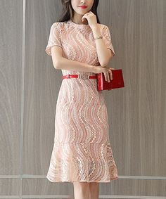 36e474d09b Another great find on  zulily! Pink Lace Sheath Dress - Women  zulilyfinds  Lace