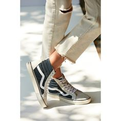 Vans Vintage Sk8-Hi Reissue Sneaker ($70) ❤ liked on Polyvore featuring shoes, sneakers, leather high tops, leather lace up sneakers, leather hi top sneakers, high top shoes and vintage sneakers
