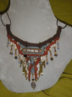 Bone and Bead Woven Necklace 754 by avidweaver on Etsy