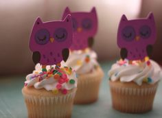 owl cupcake toppers - good for slumber party