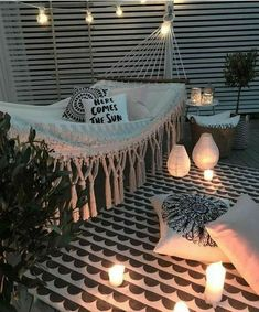 Outdoor living outdoor style hammock porch outdoor lights lanterns rope lights deck rustic modern home decor diy decor diy home decor apartment living rooftop outdoors rug lights here comes the sun pillow cozy hangout outdoor entertainment Room Goals, Outdoor Spaces, Outdoor Living, Outdoor Bedroom, Outdoor Sheds, Outdoor Rugs, Outdoor Decor, Dream Rooms, Apartment Living