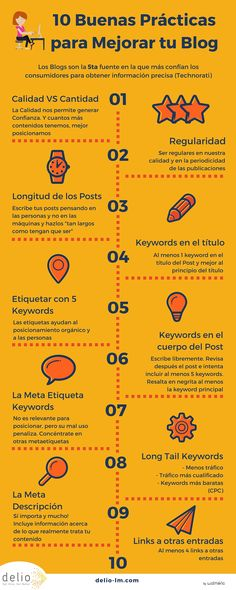 Excelente infografía que te ofrece 10 útiles consejos para mejorar tu blog. Unas prácticas realmente fáciles de seguir para potenciar tu blog.
